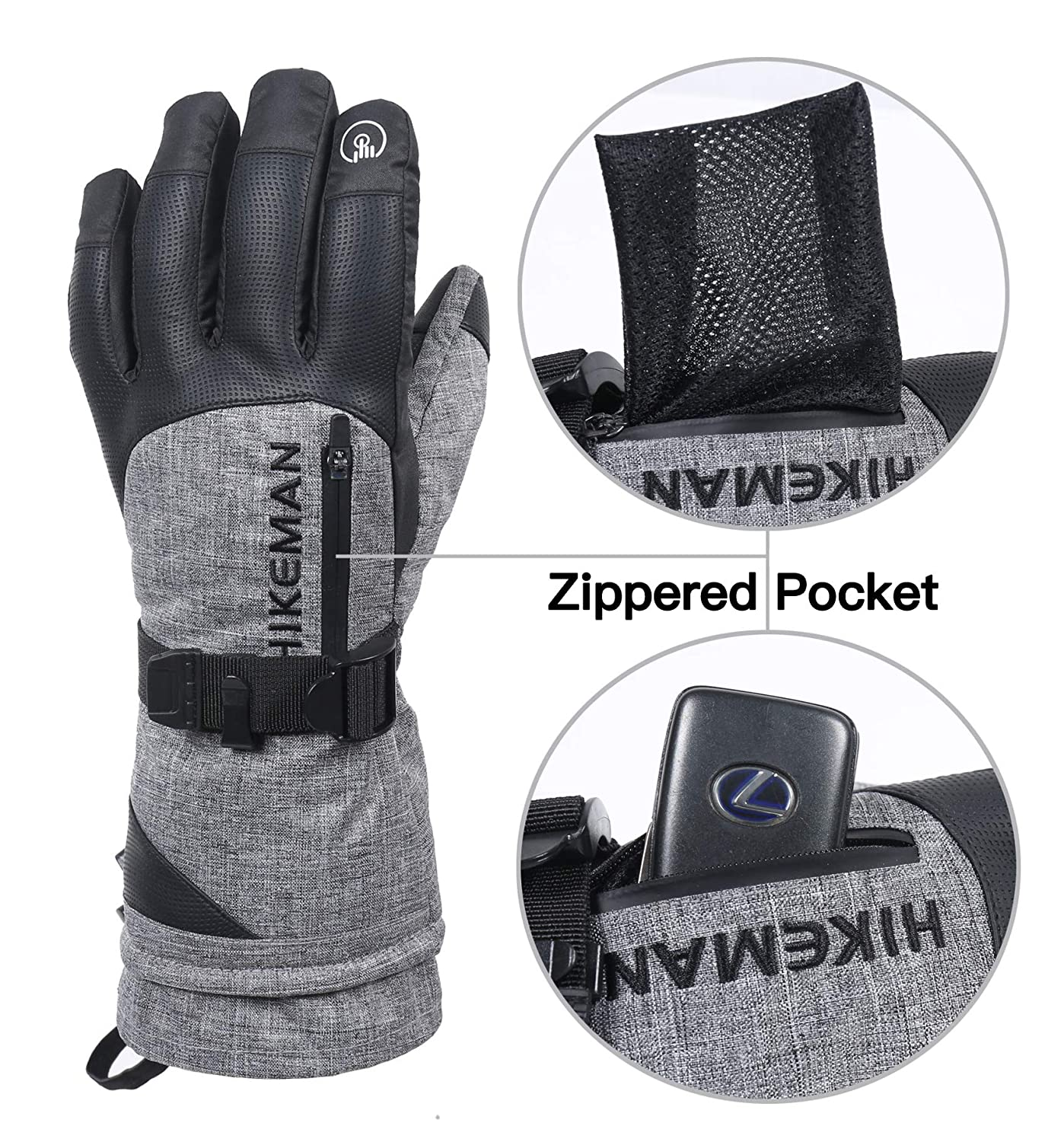 Snow Ski Gloves Cold Weather Gloves 3M-Thinsulate Warm Windproof Snowboard Gloves Touchscreen For Skiing Riding Skating