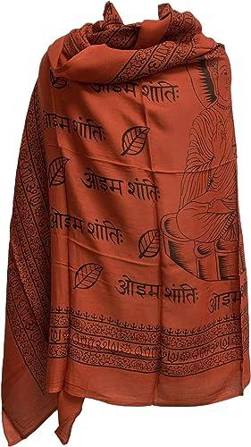 Rajasthan Cottage Hindu Meditation Buddha Cotton Altar Cloth Prayer Shawl 43 x 66 Red