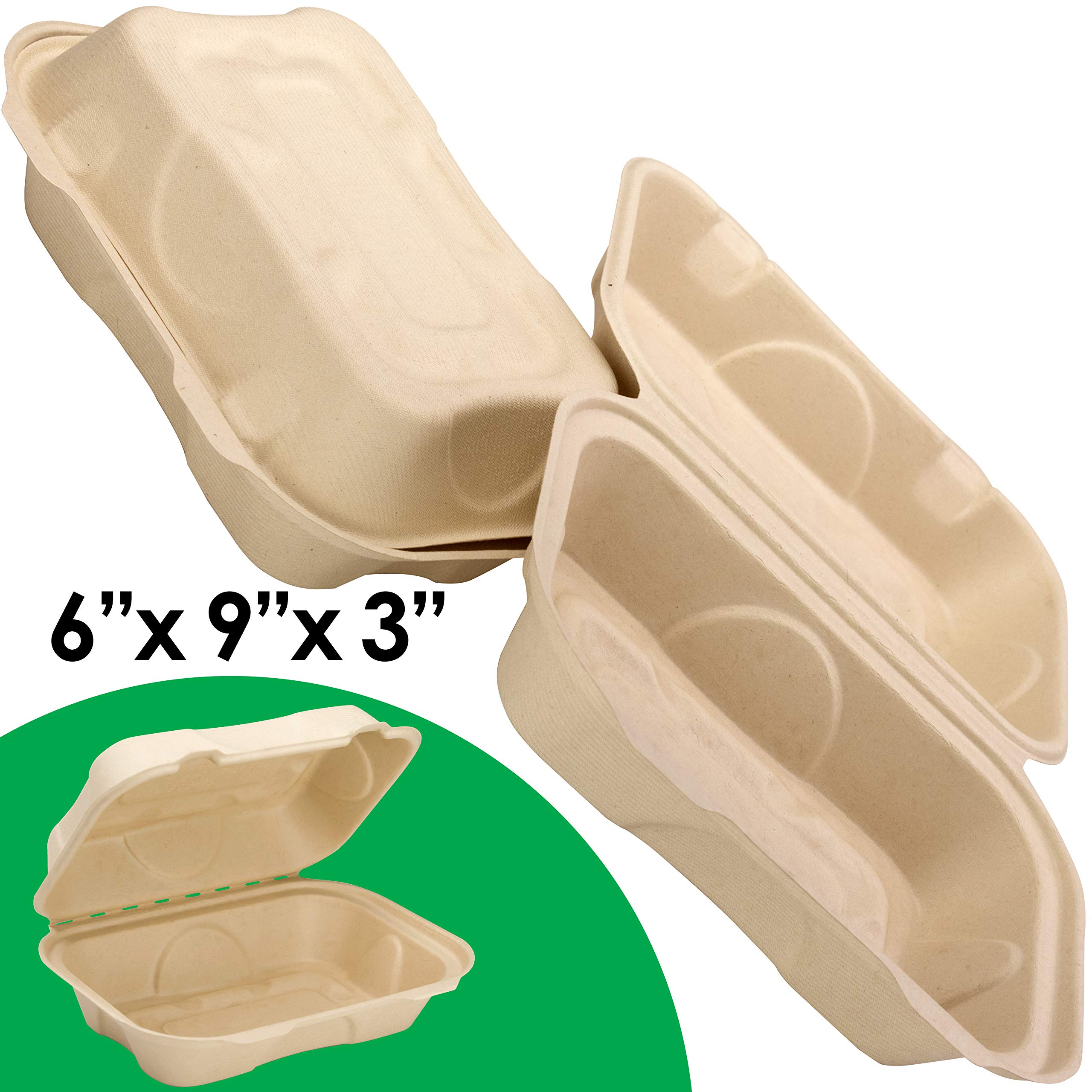 Biodegradable 6x9 Take Out Food Containers with Clamshell Hinged Lid 100 Pack. Microwaveable, Disposable Takeout Box to Carry Meals Togo. Great for Restaurant Carryout or Party Take Home Boxes
