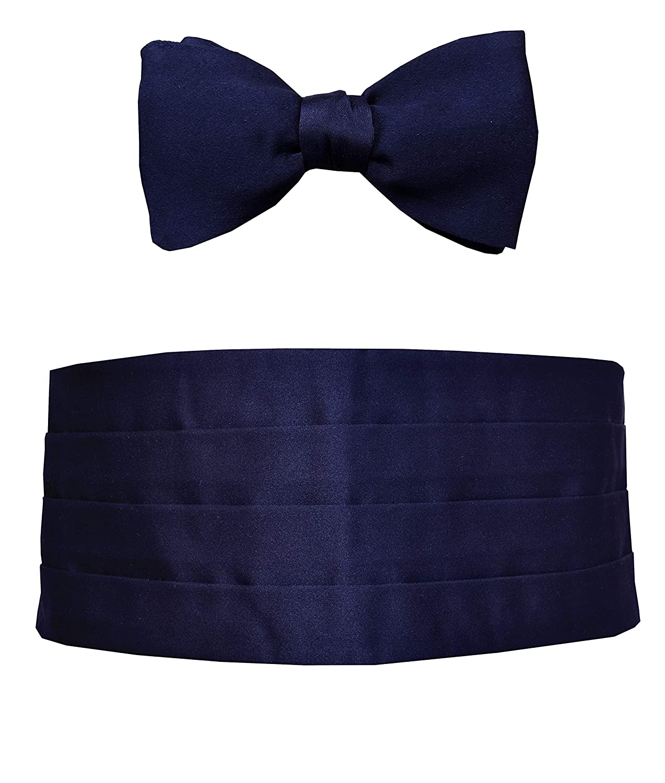 Silk Remo Sartori Made in Italy Mens Blue Silk Cummerbund Tuxedo Belt /& BowTie Set