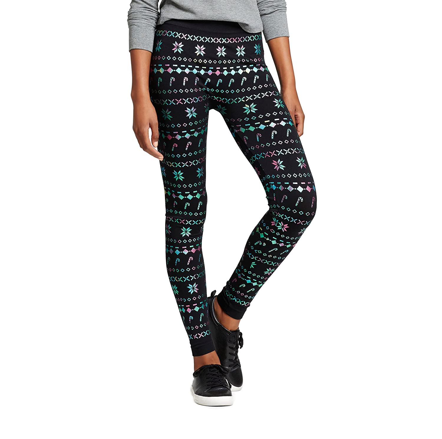 Xhilaration Women's Seamless Leggings Holiday Fair Isle Black