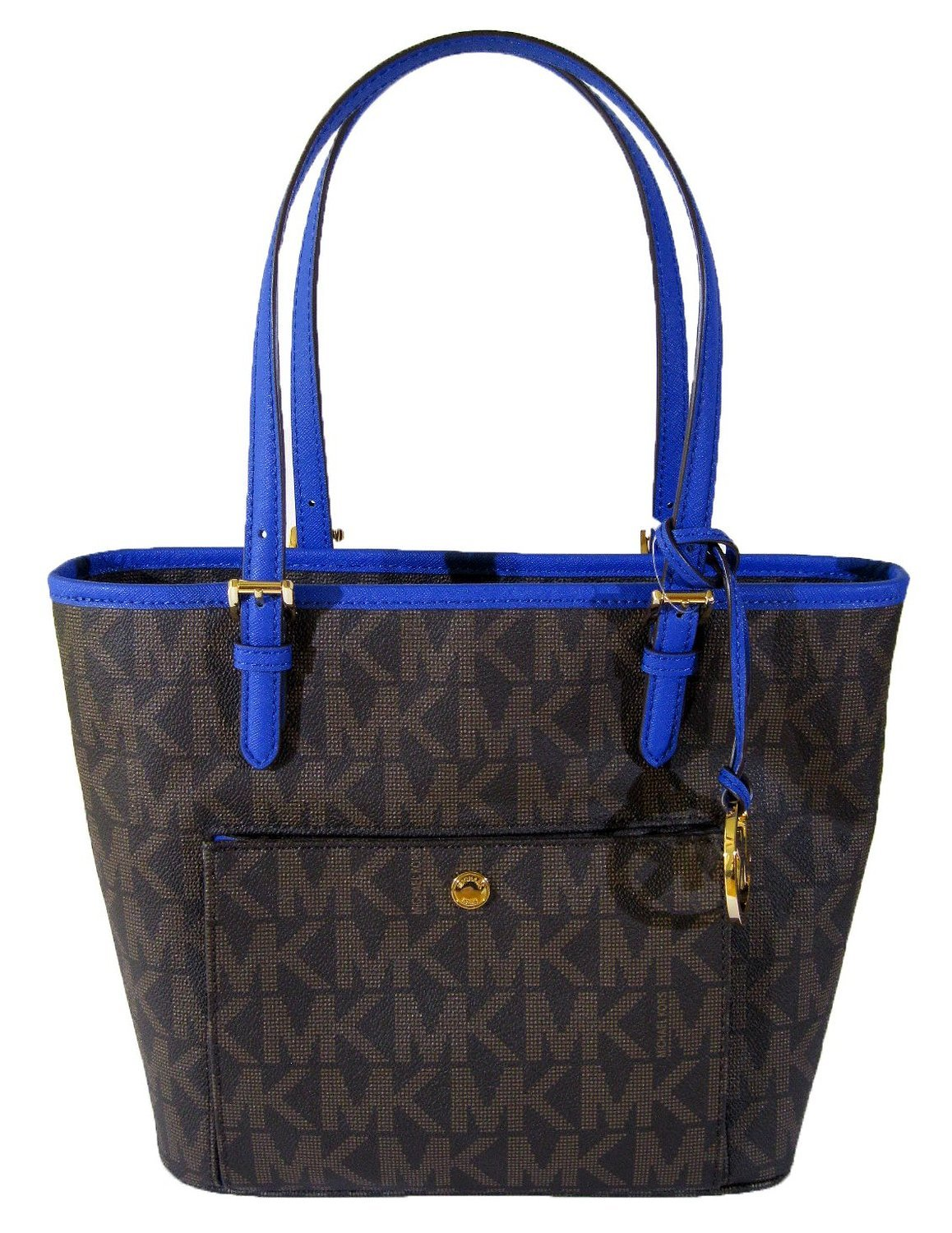 Michael Kors Jet Set Item Medium Snap Pocket Tote, Brown/elecblue