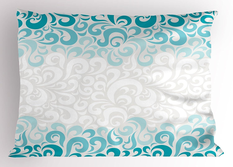 ターコイズ枕シャムby Ambesonne、抽象花柄花パターンクラシック芸術的設計図、装飾標準サイズ印刷枕カバー、ティールターコイズホワイト 30