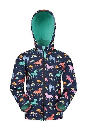 2806bc1c2 Mountain Warehouse Exodus Kids Printed Softshell Jacket - Wind Resistant  Shell Jacket, Breathable Hoodie Jacket, Water Resistant Rain Jacket - for  ...