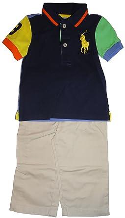 ff9e1401c Polo by Ralph Lauren Infant Boy's 2 Piece Outfit Navy Shirt/Khaki Pants (3