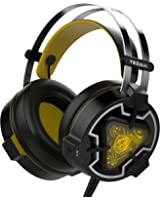 Tezam Stereo Over Ear Wired Gaming Headsets with Hidden Microphone and LED Light for PC, PS, Xbox