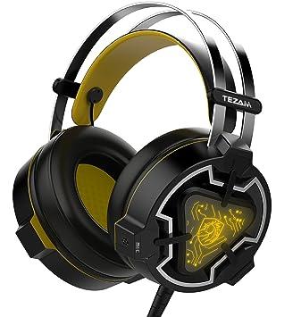 Tezam Gaming Headset, USB Estéreo Cascos Gaming Auriculares de Juego de Para PC con Micrófono