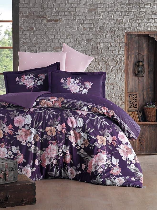 Satén Ropa de cama 240 x 220 cm. perra (Juego de 5 100% algodón satén): Amazon.es: Hogar