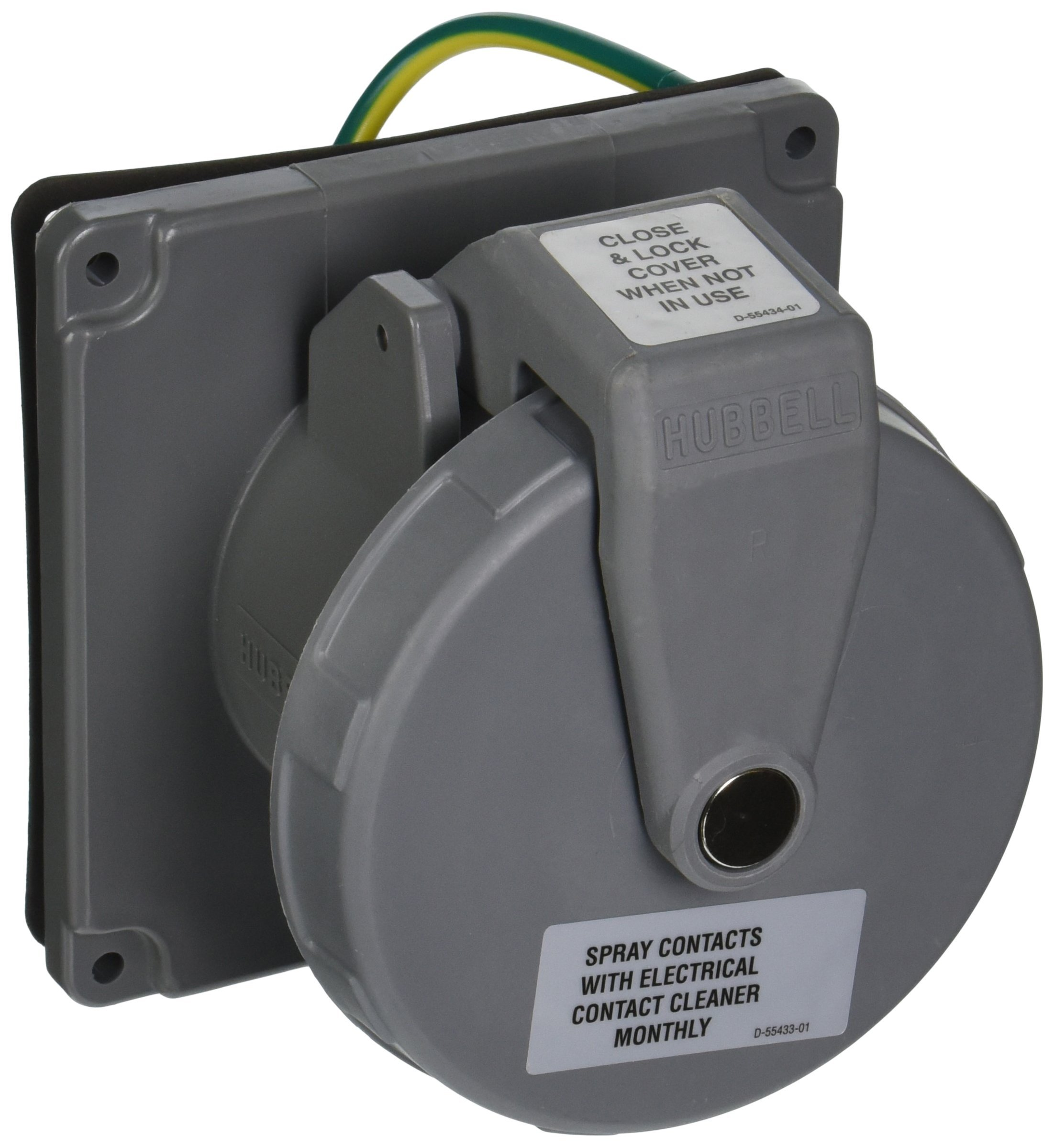 Hubbell Wiring Systems M4100R12 Ship-to-Shore Nylon Dockside Single Receptacle, Gray