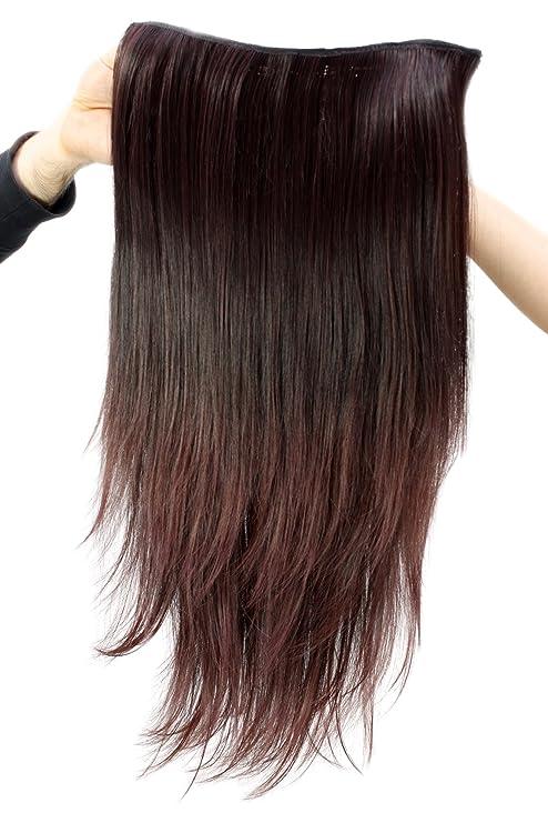 WIG ME UP ® - Postizo con 7 clips, semi-peluca, marrón,
