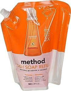 Method Dish Soap Pump Refill, Clementine, 36 Ounce, Small, Orange