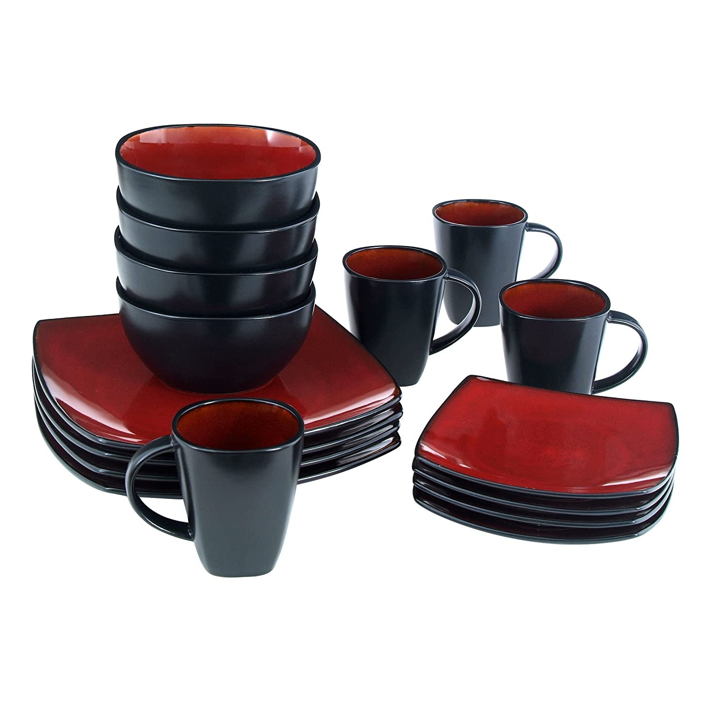 amazoncom gibson soho lounge 16piece square reactive glaze dinnerware set red dinnerware sets - Stoneware Dishes