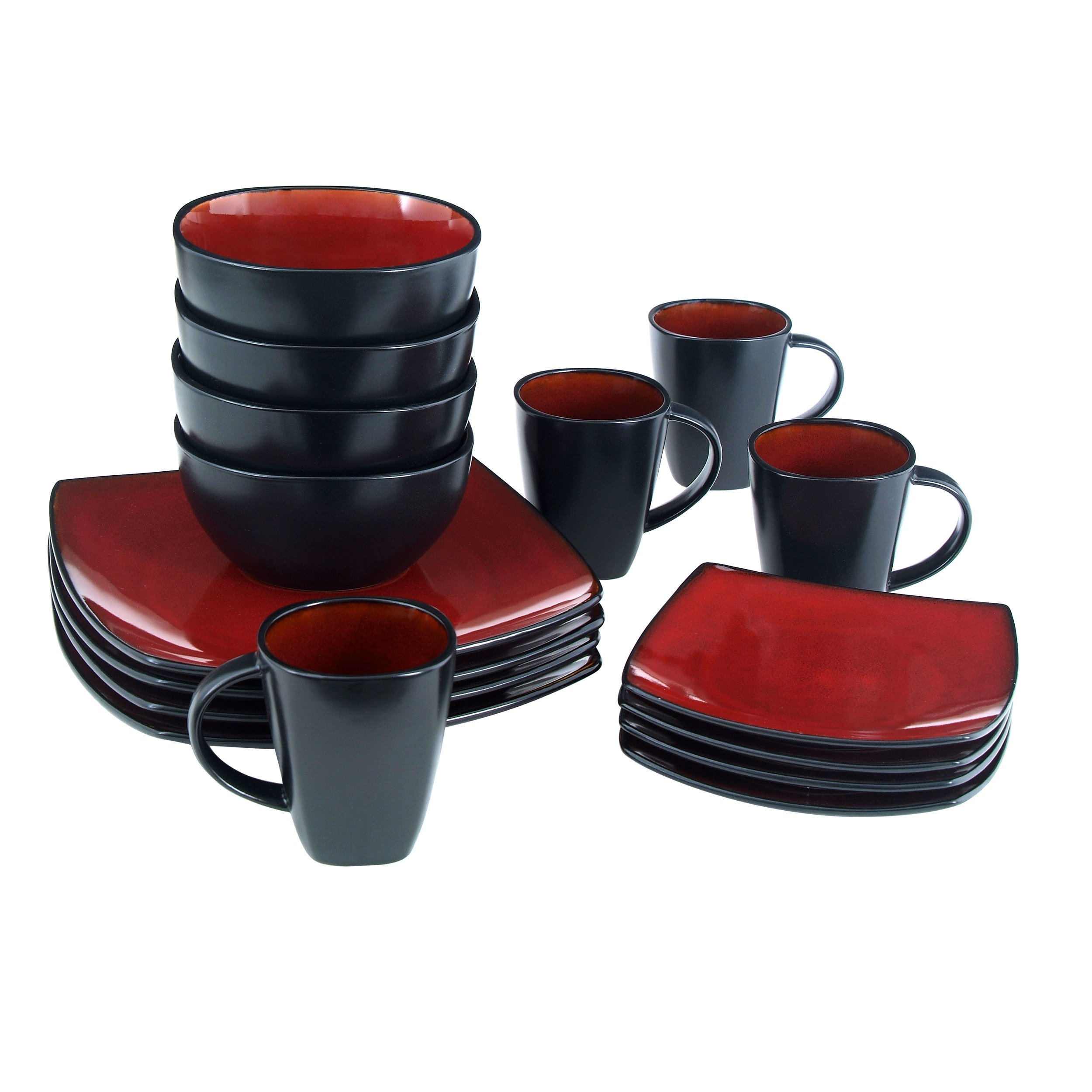 Gibson Elite 61220.16RM Soho Lounge 16-Piece Square Reactive Glaze Dinnerware Set, Red by Gibson (Image #2)