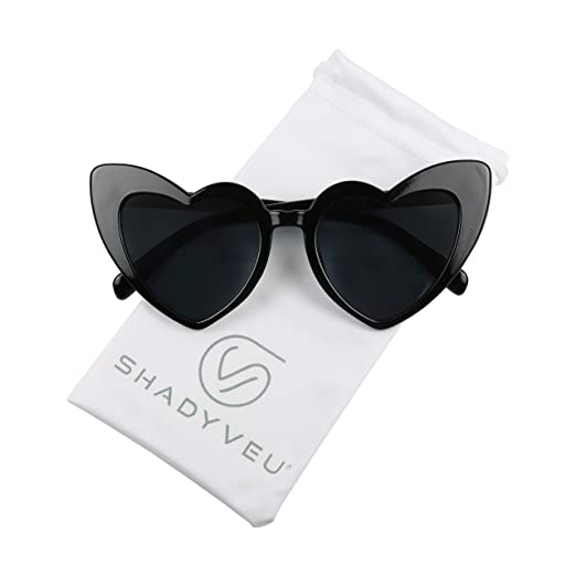 b90013c0da5a1 ShadyVEU - Chunky Love Heart Shaped Colorful Oversize High Tip Cute  Sunglasses (Black Frame