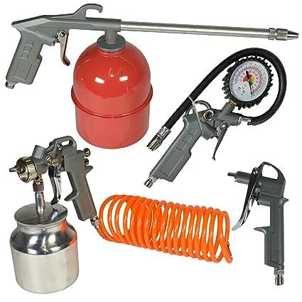 Compresor de aire de pulverización Tool Kit accesorio de inflar la pistola de la manguera 5pc