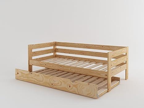 Divano letto a doghe in legno con letto estraibile pino vernice