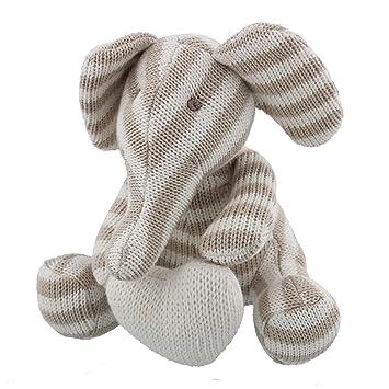 Belle éléphant en coton tricoté Bambino avec coeur Peluche bébé - Unisexe Gris à rayures