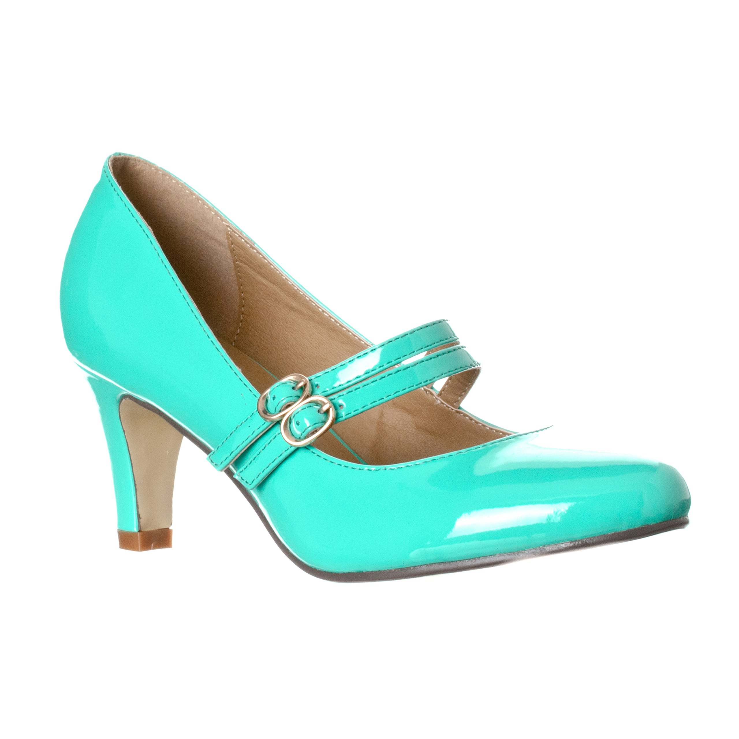 Riverberry Women's Mila Chunky, Mid Heel Mary Jane Pump Heels, Mint Patent, 6