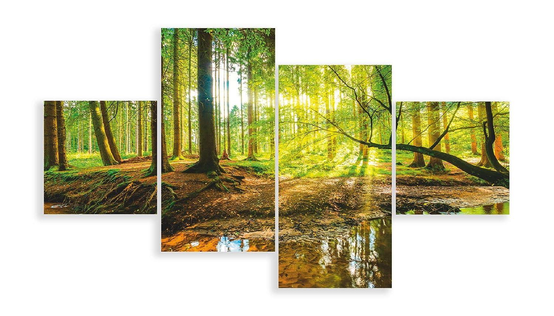 Artland Qualitätsbilder I Glasbilder Mehrteilig Wald mit Bach Deko Glas Bilder 120 x 70 cm Landschaften Foto Grün D8SD