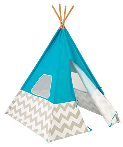 new style f4d77 7653e KidKraft Deluxe Bamboo & Canvas Play Teepee, Children's Furniture –  Turquoise & Chevron Print