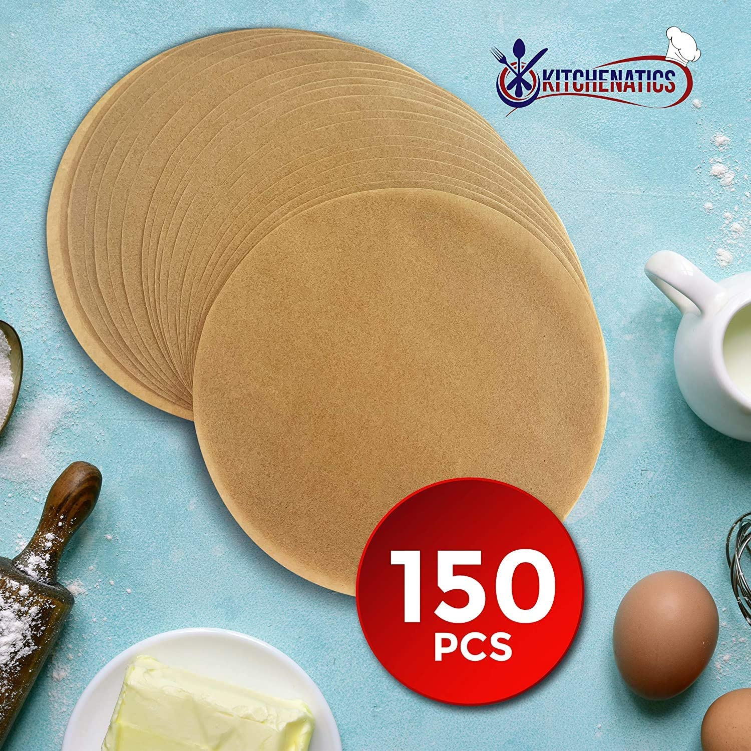 150 pezzi KITCHENATICS 8 pollici Round Parchment Paper Liner Sheets for Any Standard 9 Cake Pans for Baking Easy to Open /& Store Sheets No Burn /& No Curl Nontoxic Precut Unbleached