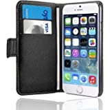 SAVFY iPhone 6 Case - Leather Case for Apple iPhone 6 4.7 Inch Flip Black Cover With [ Holder Support & ID Card Slot ] Magnetic PU Cover High Quality Pouch + Free Screen Protector & Stylus Touch Pen