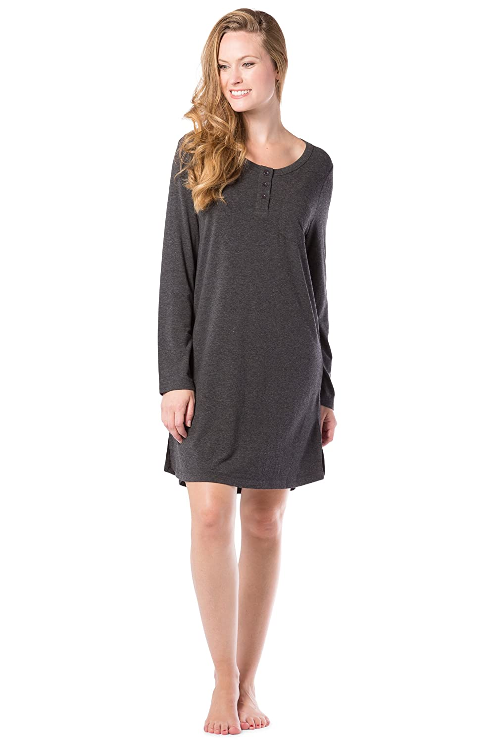 Fishers Finery Women s Ecofabric Henley Nightshirt  Long Sleeve  Above Knee  at Amazon Women s Clothing store  0a69bb993