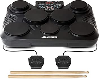 Alesis Compact Kit 7 | Ultra-Portable 7-Pad Electronic Table-top Drum Kit with Velocity-Sensitive Drum Pads, 265 Drum Sounds, USB-MIDI Output, Battery- or...