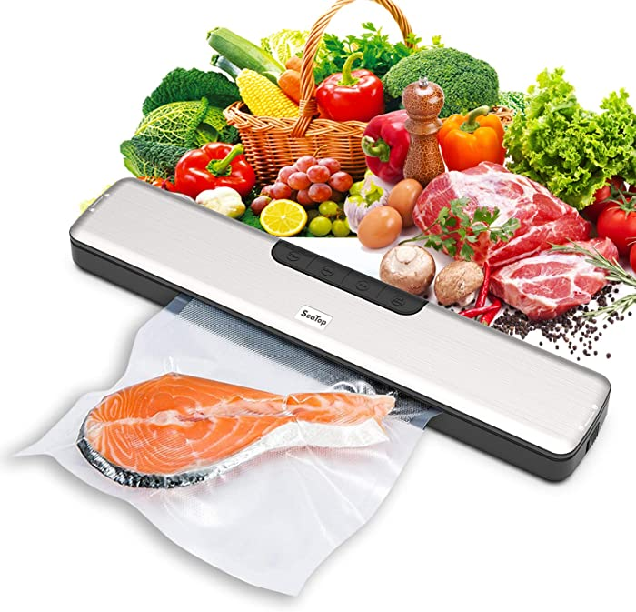 【Upgraded Slim Version】SeaTop Vacuum Sealer Machine with 15pcs Bags, Automatic Food Sealer with Dry & Moist Food Mode for Food Store, 5 Temperature Gear
