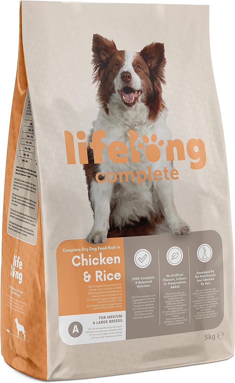 Marca Amazon - Lifelong Complete- Alimento seco completo para perros perros adultos rico en pollo y arroz, 1 x 5 kg