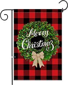 Hexagram Christmas Garden Flag, Vertical Double Sided Burlap Red Black Buffalo Boxwood Wreath Merry Christmas Garden Flags, Winter Rustic Christmas Yard Outdoor Decoration 12 X 18 Inch