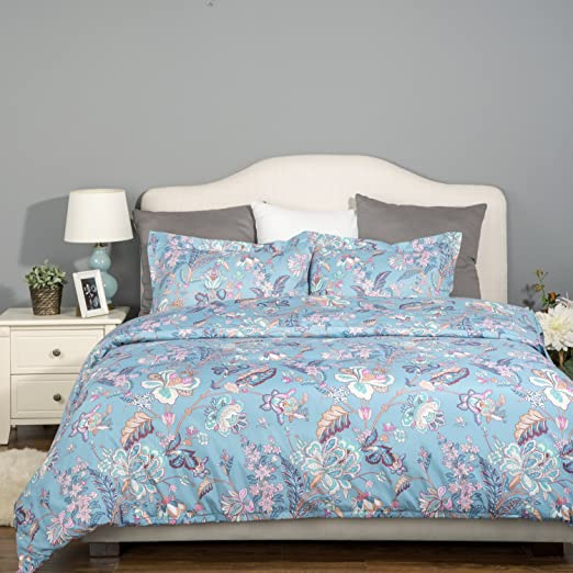 "3 Piece Duvet Cover Set with Zipper Closure-Printed Blue Floral Reversible Design,Full/Queen (90""x90"")-(1 Duvet Cover + 2 Pillow Shams)-Ultra Soft Hypoallergenic Microfiber by Bedsure"