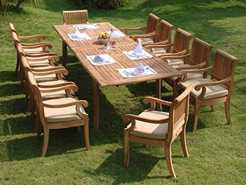 TeakStation 12 Seater Grade-A Teak Wood 13pc Dining Set: 117″ Double Extension Rectangle Table 12 Giva Arm/Captain Chairs TSDSGVn