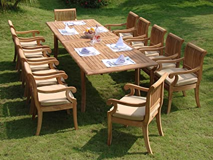 Nice Giva 13 Pc Luxurious Grade A Teak Dining Set   117u0026quot; Double Extension  Rectangle
