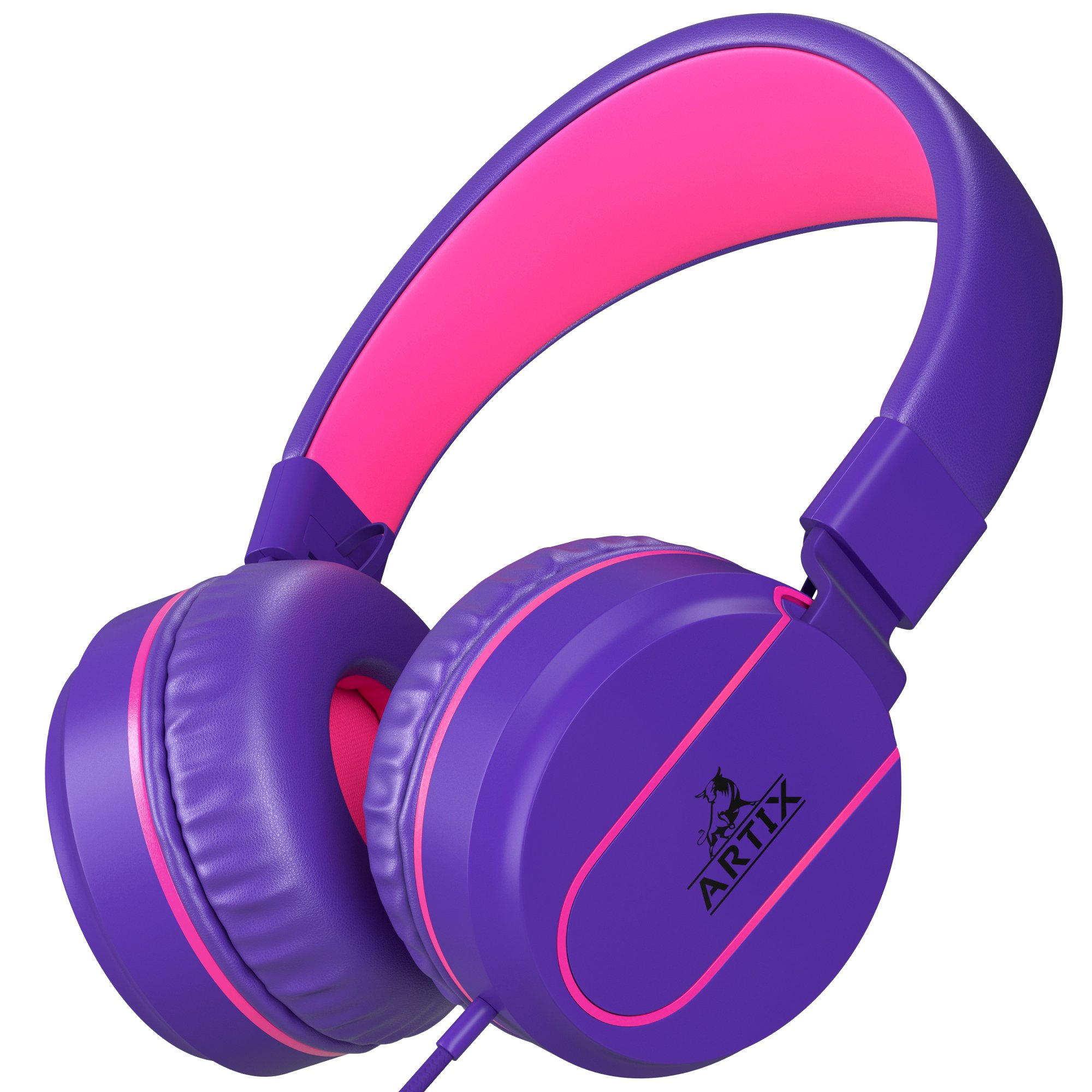 Artix Foldable On-Ear Adjustable Tangle-Free Wired Headphones, Compact Stereo Earphones with In-line Microphone and Controls for Children, Teen, Adult Head Phones for Running Sport, Travel- Purple by ARTIX