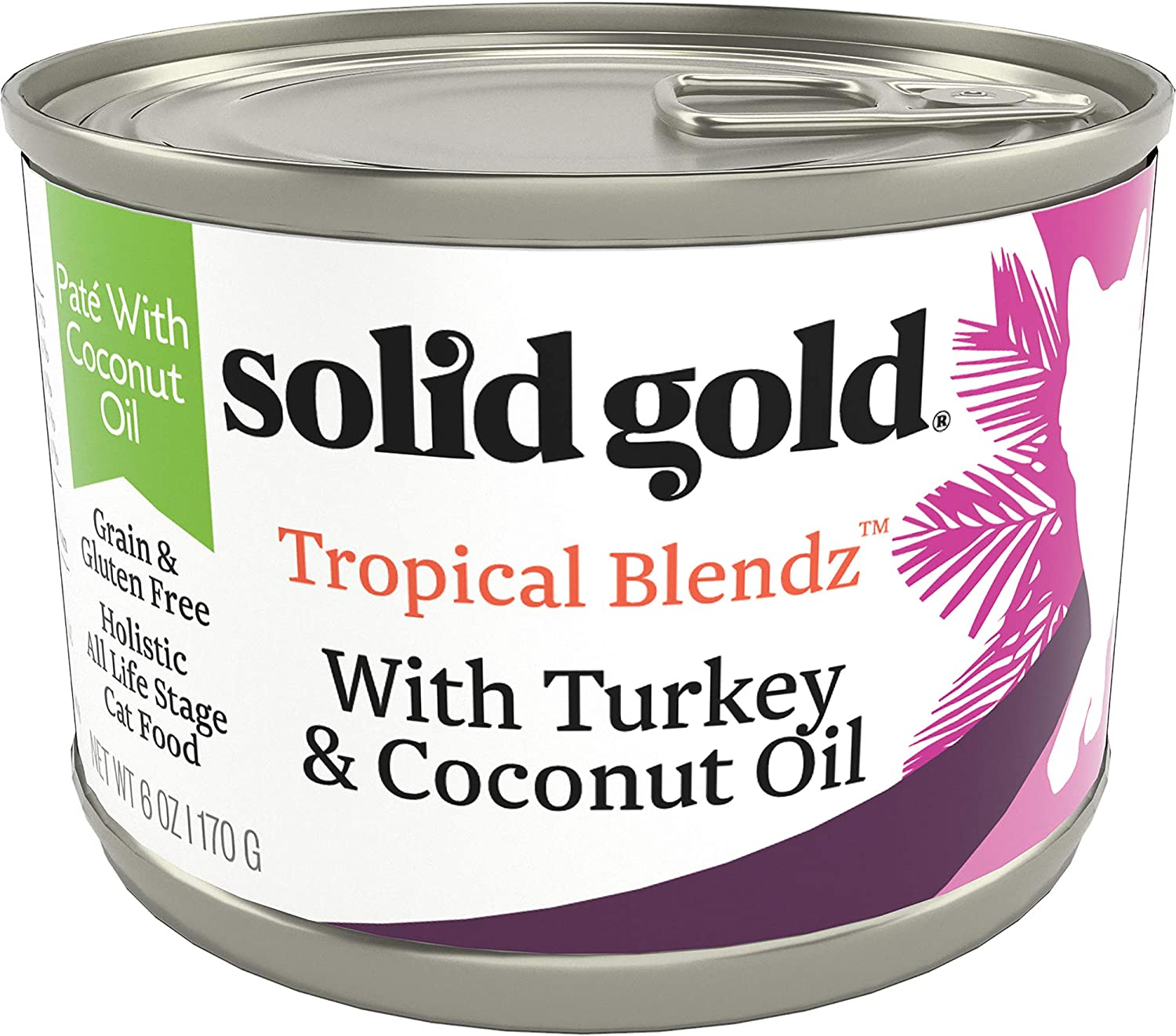 Solid Gold Tropical Blendz Pate with Coconut Oil - Grain-Free Wet Cat Food with Real Turkey - 6oz (16 count)