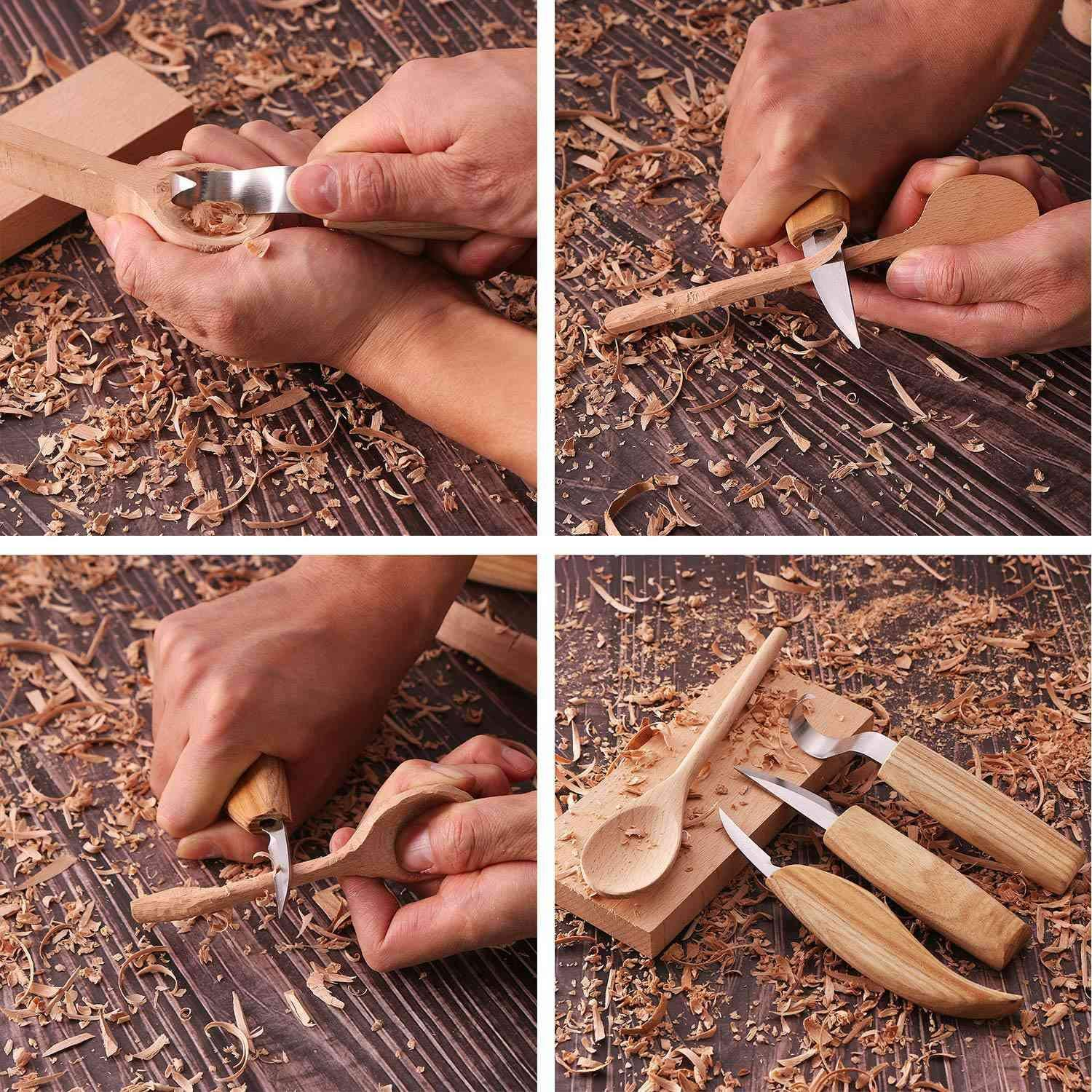 RETYLY Wood Carving Spoon Blank Beech and Walnut Wood Unfinished Wooden Craft Whittling Kit for Whittler Starter 4Pcs
