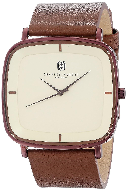 Charles-Hubert - Paris Herren-Armbanduhr 41mm Armband Kalbsleder Braun GehÄuse Edelstahl Quarz 3945-A