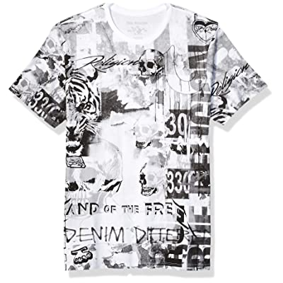 True Religion Men's Ss Collage All Over Print Tee: Clothing