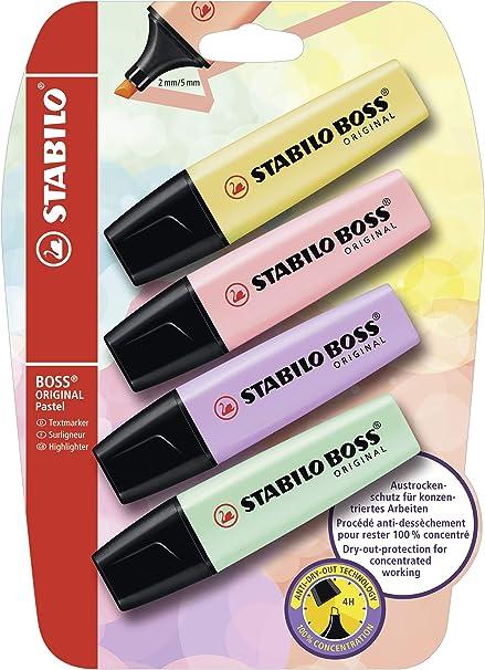 Stabilo Boss Original - Pack de 4 marcadores, tinta multicolor: Amazon.es: Oficina y papelería
