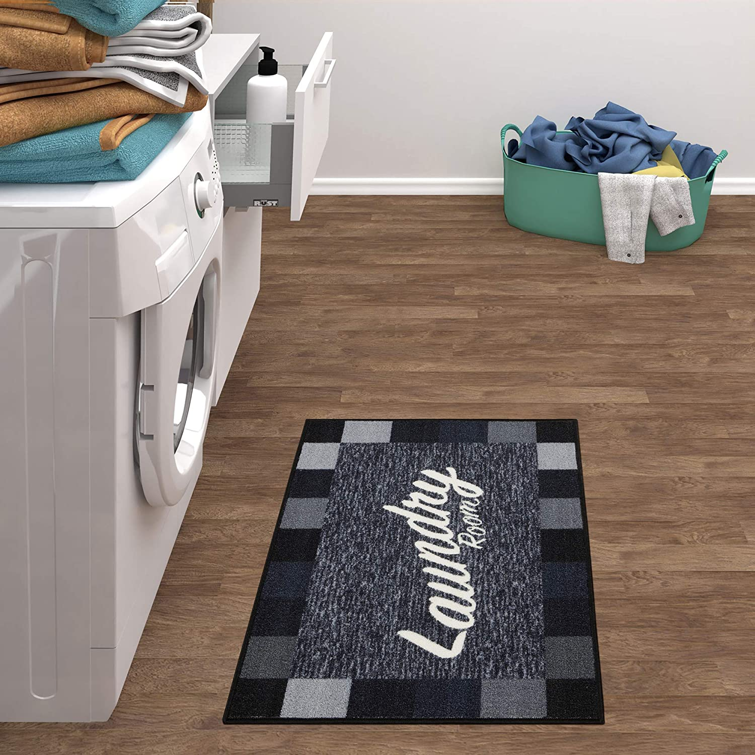 "Ottomanson Laundry Collection Area Rug, 2'3""X3',Black Checkered"