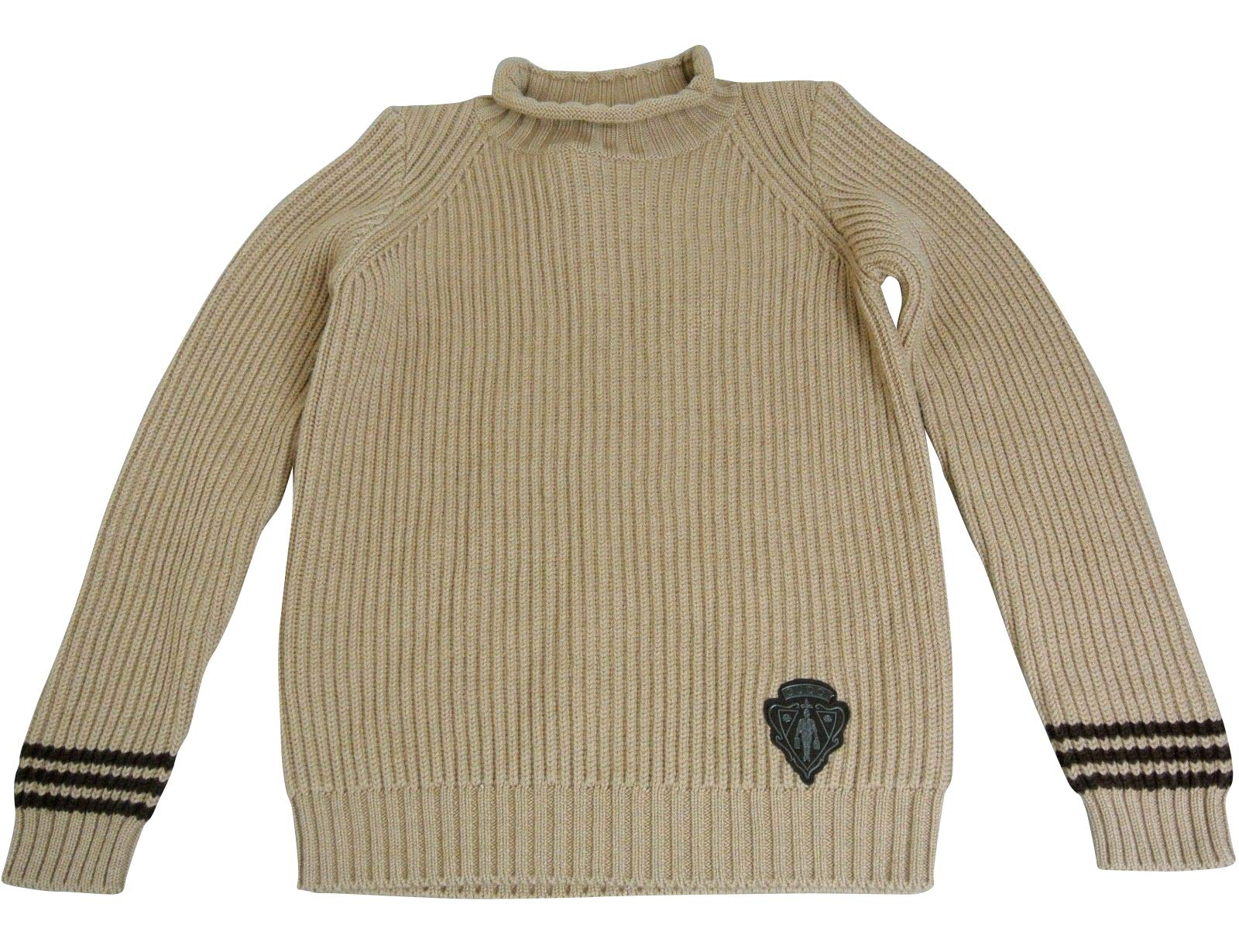 Gucci Unisex Brown Wool Crew Neck Sweater Top Jumper with Hysteria Crest 293118 (Size 10)