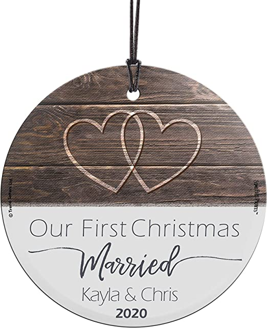 First Married Christmas Ornament 2020 Amazon.com: Our First Christmas Married Glass Ornament