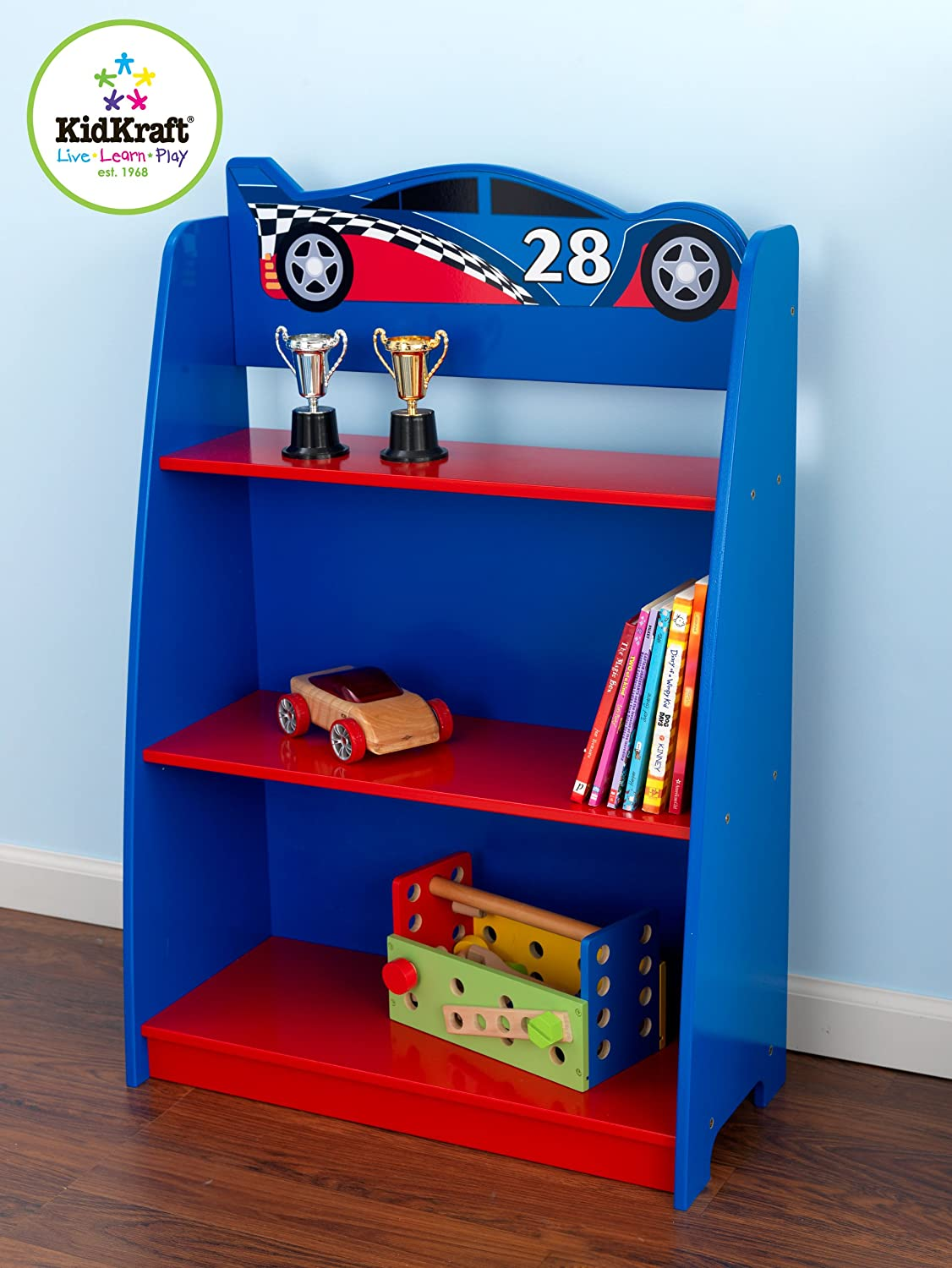 boys cars bedroom bookcase in red and blue kidkraft