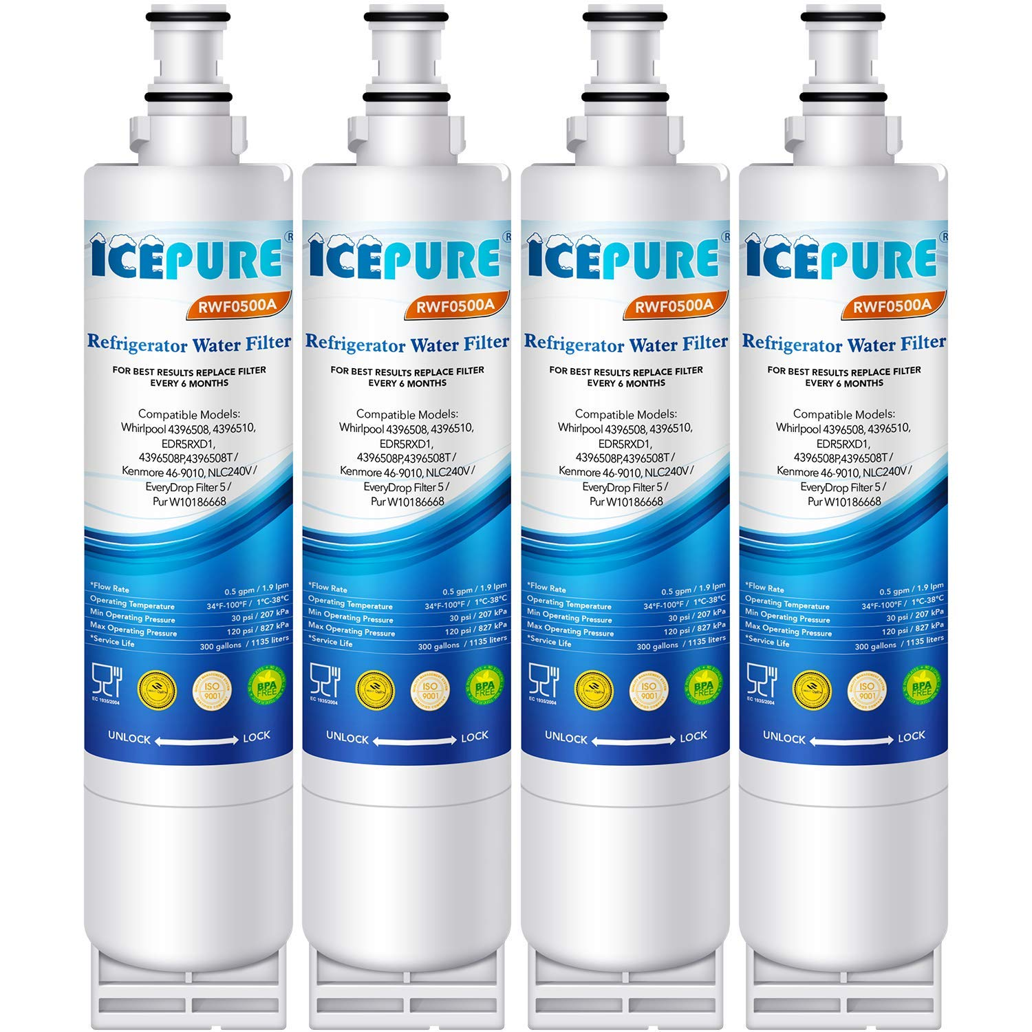ICEPURE 4396508 Refrigerator Water Filter Compatible with Whirlpool  4396508, 4396510, edr5rxd1, filter 5, 4392857, NL240V, WFL400, 9010 filter,  wf285,