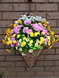 Eternal Bloom Wall Mounted Brown & cream Basket/Out Door uv protected Yellow, Pink & white Flowers, Basket and Bark included - ready to hang