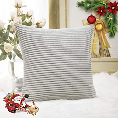HOME BRILLIANT FBA_HBCRDCC102 Striped Velvet Cushion Cover for Chair Supersoft Handmade Decorative Pillowcase, Light Grey, 18 x18 (45cm)