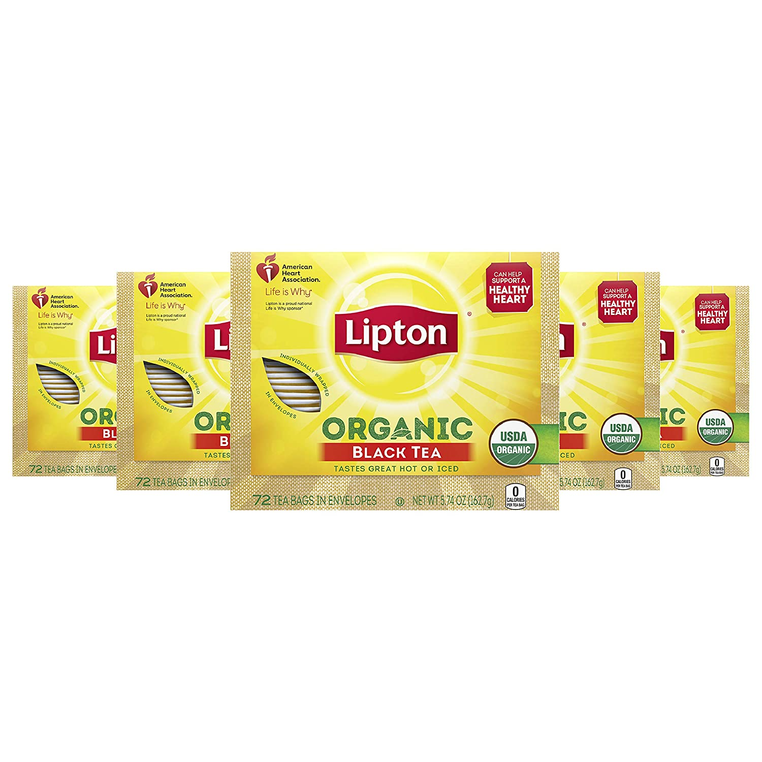 Lipton Organic Tea Bags Tastes Great Hot or Iced Organic Black Tea Can Help Support a Healthy Heart 5.74 oz 72 Count, Pack of 5