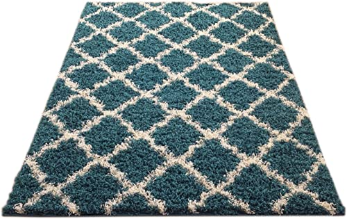 EnglishHome Shagy Collection Trellis Design Shag Area Rug Blue 6 7 x9 6