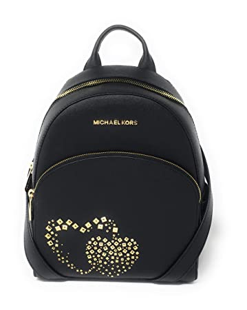 1faecc547ac277 Amazon.com | MICHAEL KORS LEATHER ABBEY MEDIUM HEART STUDDED BACKPACK BAG  IN BLACK | Luggage & Travel Gear